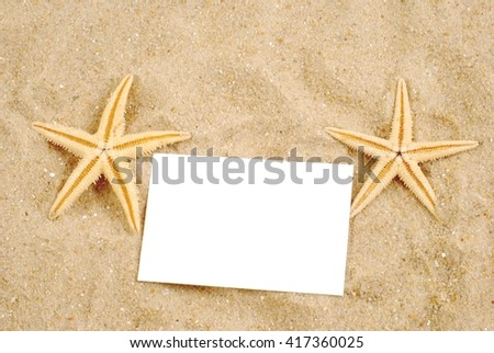 Summer background. Summer background with empty tag. Summer background.Summer background, summer time.  Summer background for summer card. Summer background with sand. Starfish on summer background.   - stock photo