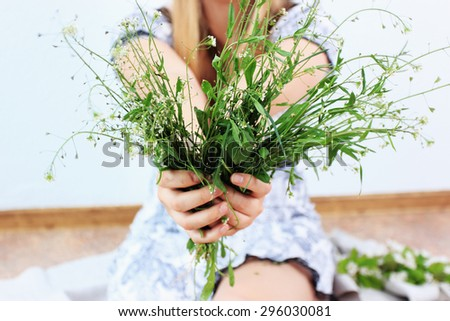 Summer background, Summer girl or Romantic background - stock photo