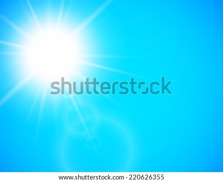 Summer background with a summer sun burst with lens flare, blue illustration - stock photo