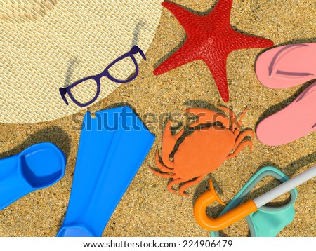 summer background with beach objects  - stock photo
