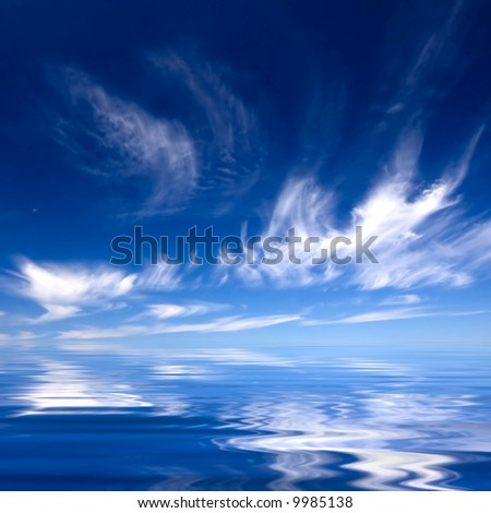 Summer background with blue sky and water - stock photo