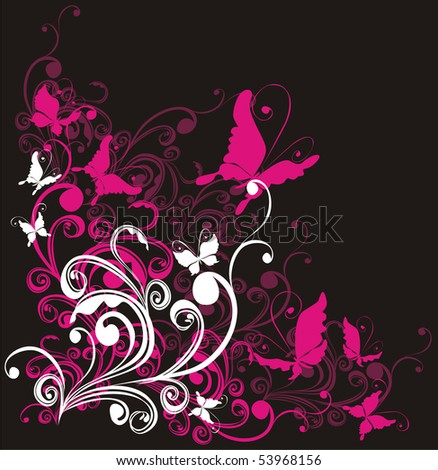summer background with floral ornament and butterfly - stock photo
