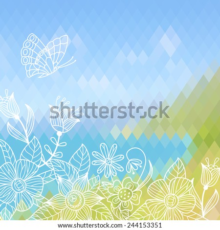 Summer background with graphic flowers and butterfly. Raster version. - stock photo