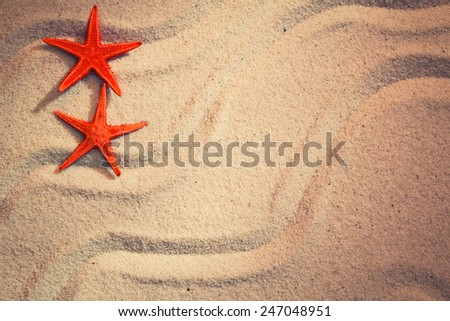 Summer background with sea sand and starfish - stock photo