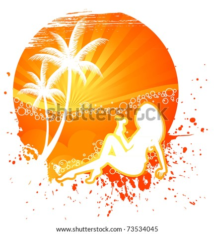 Summer background with woman silhouette