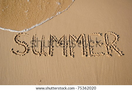 "summer background with written work ""summer"" on sand and piece of sea"
