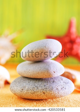 summer background, yellow sand and sea shels - stock photo