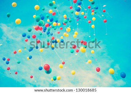 Summer Balloons Flying - stock photo