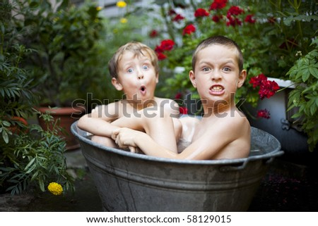 summer bath time - stock photo
