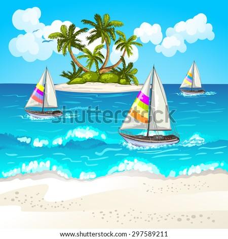 Summer beach - stock photo