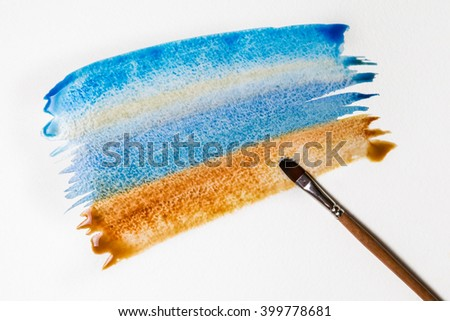 Summer beach. Abstract water color background with brush. - stock photo