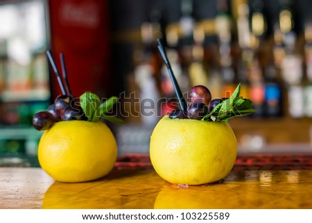 Summer beach cocktail at the bar - stock photo