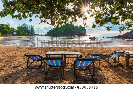 Summer beach in tropical zone. View from relax chair on beach with sunshine in Ao Bo Thong Lang bay, Thailand  - stock photo
