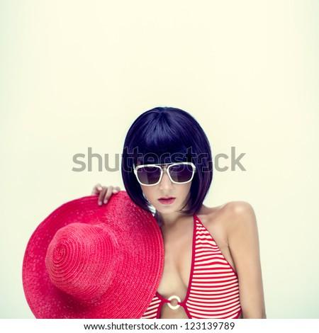 summer beach portrait of a sensual girl - stock photo