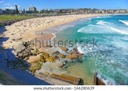 Summer Beach Scene Along Ocean, Sydney Australia - stock photo