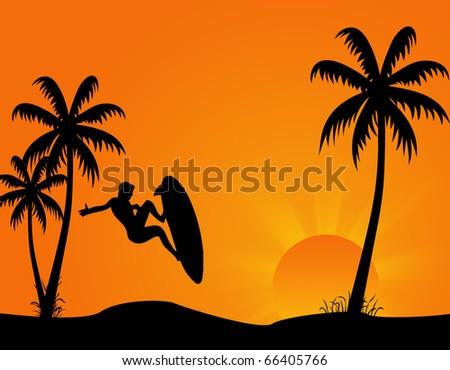 Summer Beach Scene Background A raster illustration of a summer beach scene. Horizontal. - stock photo