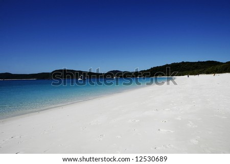 Summer Beach Scene- White Sand - stock photo