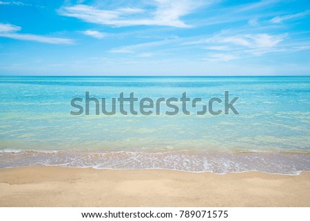 summer beach , sea and sky background , white sand