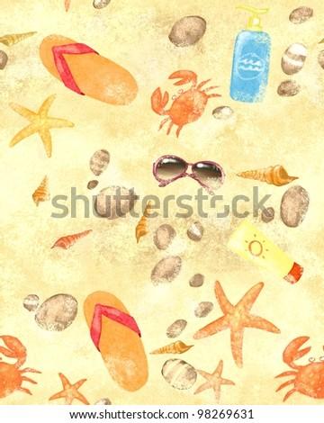 Summer beach seamless background - stock photo