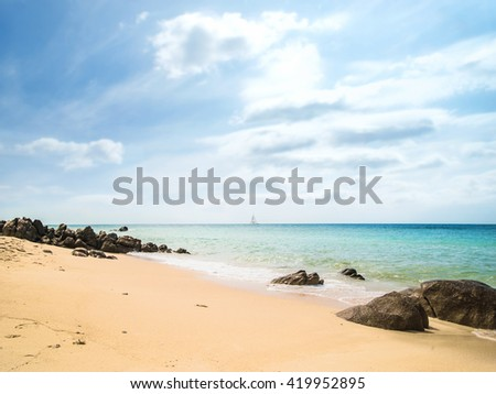 Summer beach (sky, sea and rocks). Nature background. - stock photo