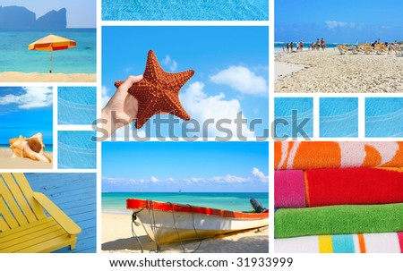 Summer beach theme collage. - stock photo