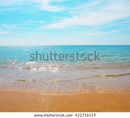Summer beach tropical wave sky sunny background  - stock photo
