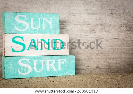 Summer beach wooden blocks decor - stock photo