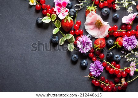 summer berries and flowers - stock photo
