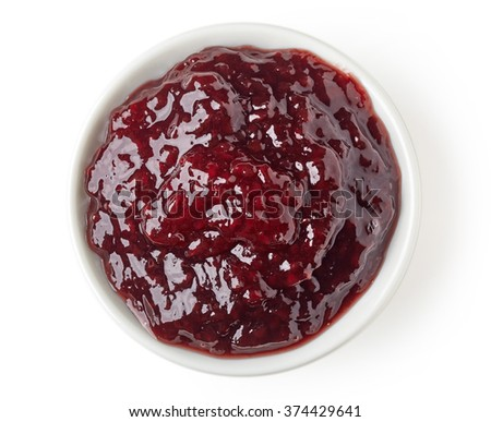 Summer berries jam marmalade in round dish isolated on white background, top view - stock photo