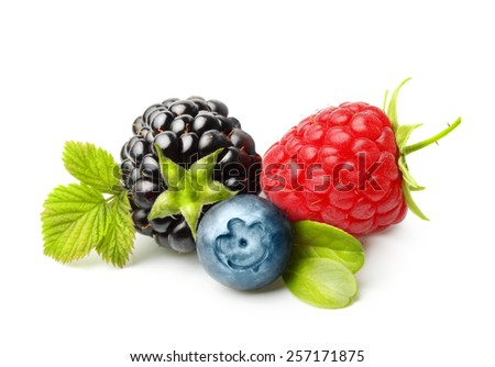 Summer berry fruits. Berries. Raspberry, Blueberry, Blackberry Isolated on White Background - stock photo