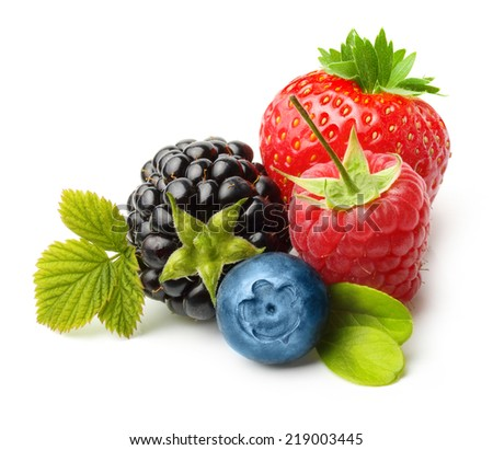 Summer berry fruits. Berries. Raspberry, Strawberry, Blueberry, Blackberry Isolated on White Background - stock photo