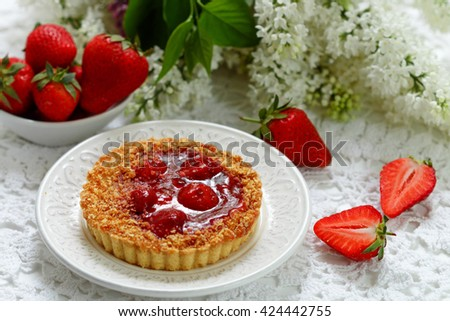 Summer berry pie. Tart, pie, cake shortbread with strawberry. Selective focus - stock photo