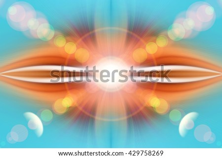 Summer blue abstract background. Geometry. Mandala, esoteric. Blurred color light. Background for text and symbol: yoga, aura, light, glow, magic, hypnosis, meditation, darkness, dream, flash, harmony - stock photo