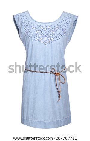 summer blue dress with embroidery and leather lace - stock photo