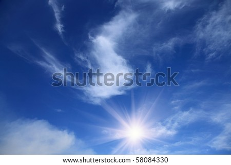 summer blue sky with sun and clouds - stock photo