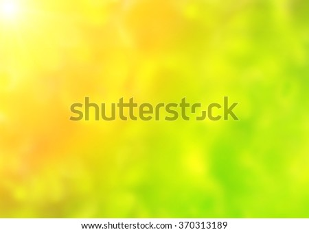 Summer blurred background of green, orange and yellow colors - stock photo