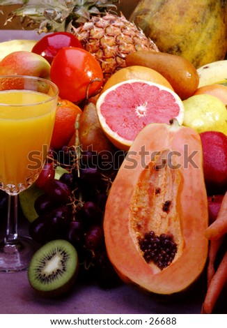Summer bounty of fruits for drinks - stock photo