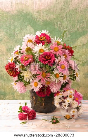 summer bouquet in the vase - stock photo