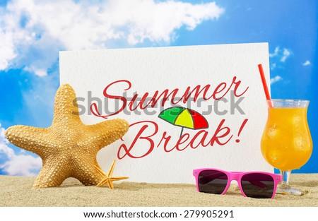 Summer break banner - stock photo
