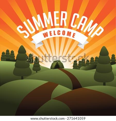 Summer camp burst. Royalty free stock illustration for ad, promotion, poster, flier, blog, article, social media, marketing - stock photo