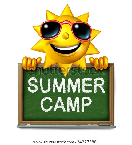 Summer camp message on a school chalk board with text written as a symbol of after school recreation and fun education with a happy sun character as an icon for childhood success. - stock photo