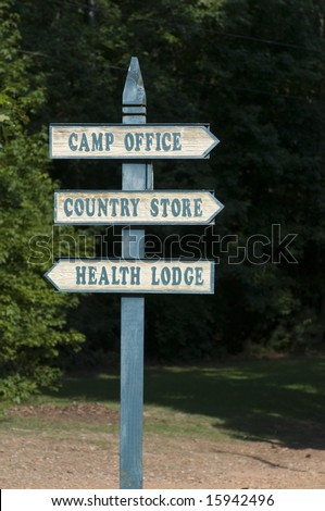 Summer camp sign post - stock photo