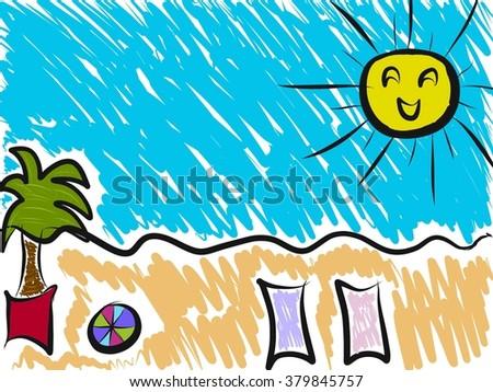 Summer cartoon drawing beach sea stock illustration 379845757 summer cartoon drawing beach and sea altavistaventures Images