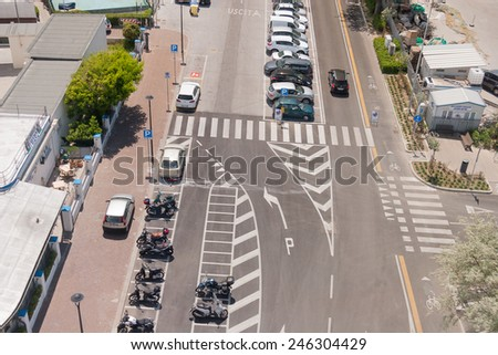 Summer cityscape of Rimini, Italy. Street view - stock photo