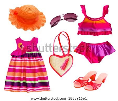 Summer clothes collage.Baby girl clothing isolated. - stock photo