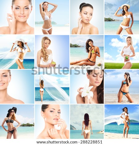 Summer collage. Fitness, healthy eating, resorts, swimsuits and a beach collection.