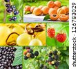 summer collage with fruits and berries, saved clipping path - stock photo