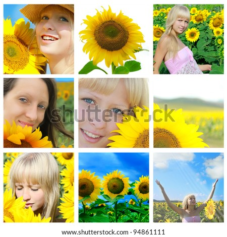 Summer collage with sunflower and closeup faces - stock photo