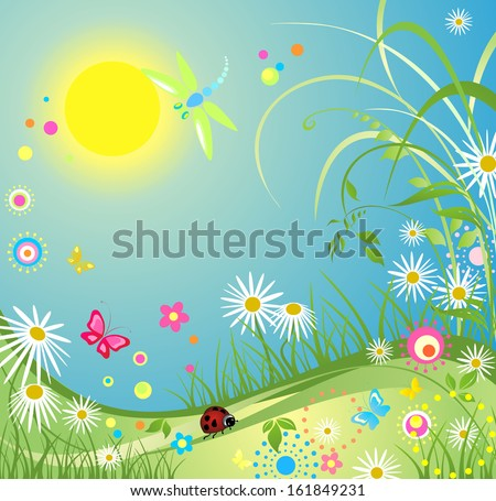 Summer colorful card. Raster copy - stock photo