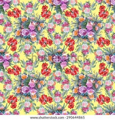 Summer Colorful Hippeastrum and roses floral watercolor Seamless pattern on yellow background - stock photo